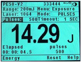 Laser exposure measurement screen set to stop after 500 pulses