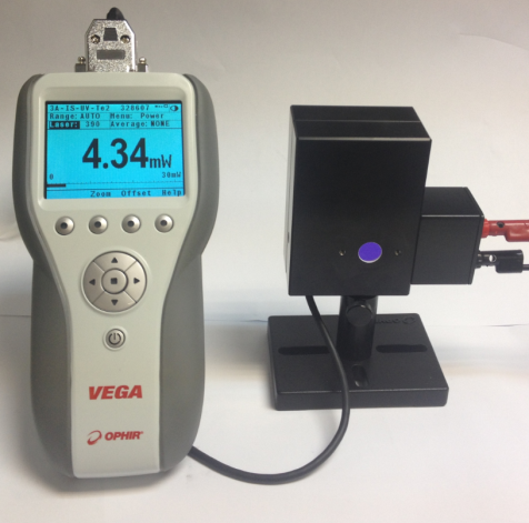 3A-IS integrating sphere with VEGA meter and AUX-LED attached